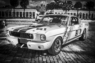 1965 Ford Shelby Mustang Bw Art Print