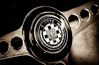Photograph - 1967 Jaguar E-type Series I 4.2 Roadster Steering Wheel Emblem by Jill Reger