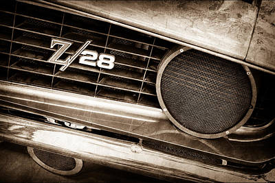 1969 Photograph - 1969 Chevrolet Camaro Z28 Grille Emblem by Jill Reger