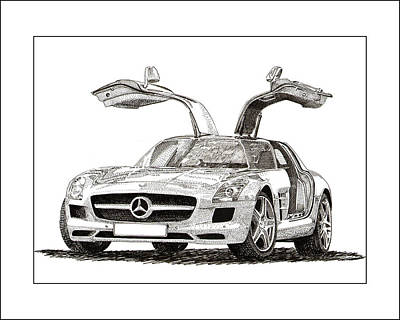 Drawing - Gull Wing Mercedes Benz S L S Gull-wing by Jack Pumphrey