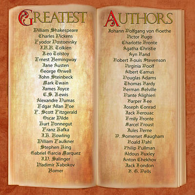 Digital Art - 50 Greatest Authors by Gunter Nezhoda