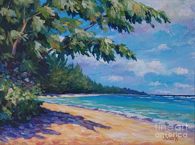 Caribbean Painting - 7-mile Beach by John Clark