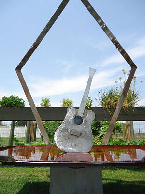 Welded Guitar Sculpture - A Chance No Strings Attached by Matthew Padlo