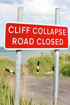 Closed Road Photograph - A Collapsed Coastal Road Near Aldbrough by Ashley Cooper