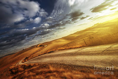 A Country Road In Field At Sunset Art Print