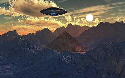 Photograph - A Flying Saucer Hovering Over A Pyramid by Mark Stevenson