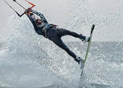 Kite Boarding Photograph - A Man Kitesurfing  Tarifa, Cadiz by Ben Welsh