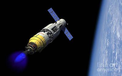 A Manned Orbital Maintenance Platform Art Print by Walter Myers
