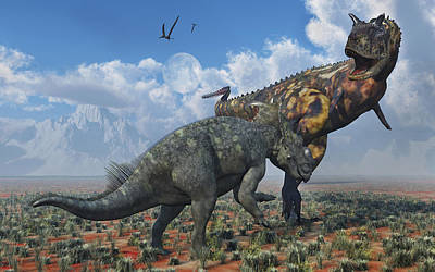Triassic Photograph - A Pachyrhinosaurus Confronting by Mark Stevenson