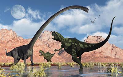 Three Rivers Digital Art - A Pair Of Yangchuanosaurus Dinosaurs by Mark Stevenson