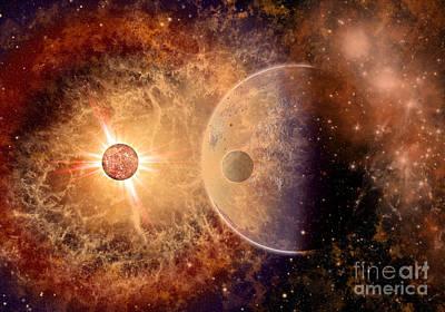 Destruction Digital Art - A Supernova Destroying Itself by Mark Stevenson