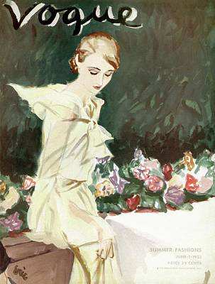 Photograph - Vintage Vogue Cover Of Woman With Flowers by Carl Oscar August Erickson