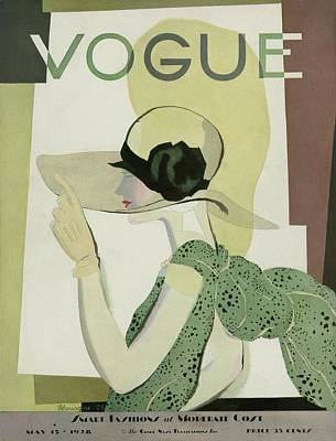 1928 Photograph - A Vintage Vogue Magazine Cover Of A Woman by Georges Lepape