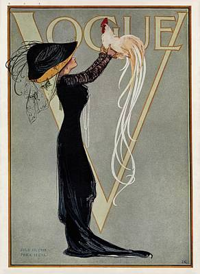 Vintage Vogue Cover Of Woman With Rooster Art Print by Artist Unknown