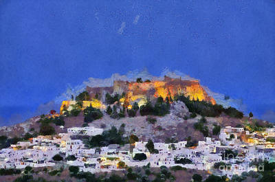Acropolis And Village Of Lindos Art Print