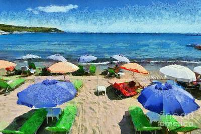 Swim Painting - Agia Marina Beach by George Atsametakis