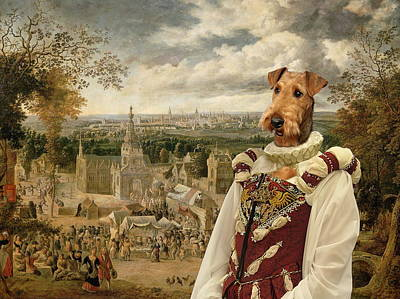 Airedale Terrier Painting - Airedale Terrier Art Canvas Print by Sandra Sij