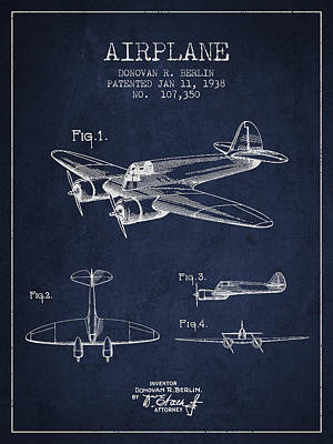 Airplane Patent Drawing From 1938 Art Print