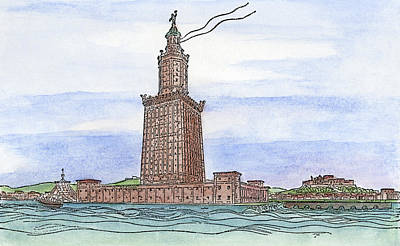 Lighthouse Drawing - Alexandria Lighthouse by Granger
