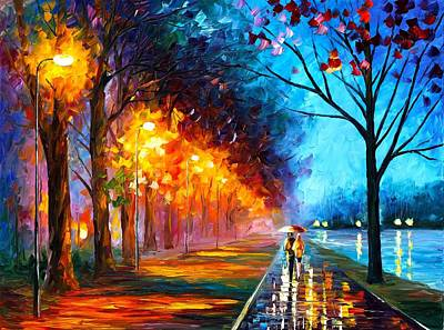Unique Oil Painting - Alley By The Lake by Leonid Afremov