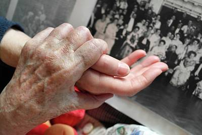 Two People Holding Hands Photograph - Alzheimer's Patient by Tony Craddock