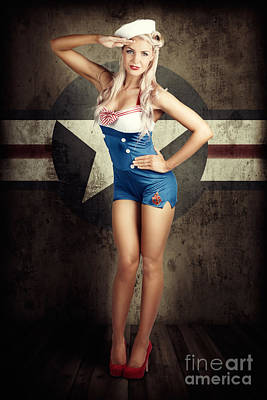 American Fashion Model In Military Pin-up Style Art Print