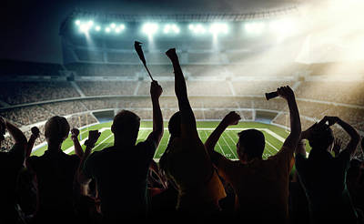 American Football Fans At Stadium Art Print by Dmytro Aksonov