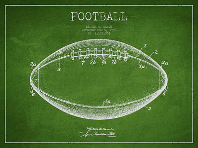 Football Royalty-Free and Rights-Managed Images - American Football Patent Drawing from 1939 by Aged Pixel