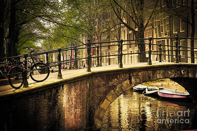 Amsterdam Photograph - Amsterdam Romantic Bridge Over Canal by Michal Bednarek