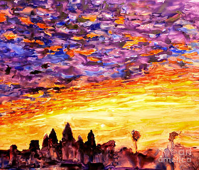Cambodia Painting - Angkor Sunrise by Ryan Fox