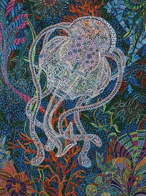 Jellyfish Painting - Aquatic Apparition  by Erika Pochybova