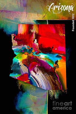 Arizona Map Mixed Media - Arizona Map Collection by Marvin Blaine