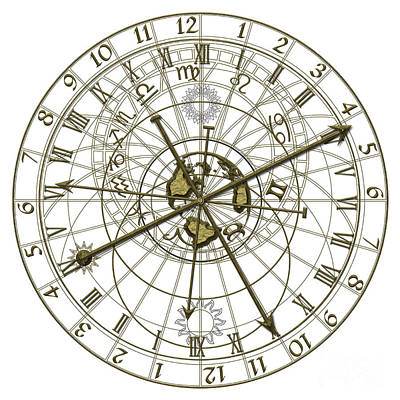Zodiac Digital Art - Astronomical Clock by Michal Boubin