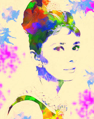 Celebrities Painting - Audrey Hepburn by Celestial Images