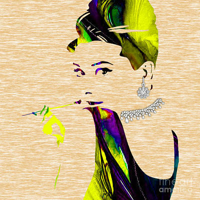 Movie Star Mixed Media - Audrey Hepburn Diamond Collection by Marvin Blaine