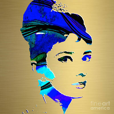 Famous People Mixed Media - Audrey Hepburn Gold Series by Marvin Blaine