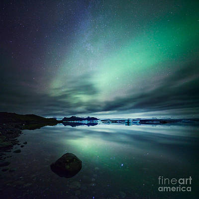 Mountains Photograph - Aurora Borealis Northern Lights Over Glacial Lagoon In Iceland by Matteo Colombo