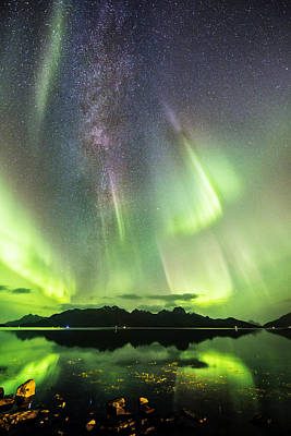 Auroras And Milky Way Art Print