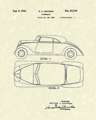 Drawing - Automobile 1932 Patent Art by Prior Art Design