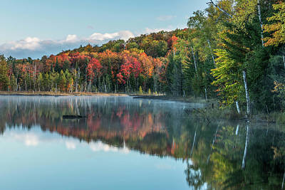 Northwoods Photograph - Autumn Colors And Mist Reflecting by Adam Jones