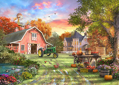 John Deere Wall Art - Painting - Autumn Farm by Dominic Davison