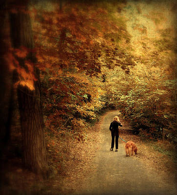 Golden Retrievers Photograph - Autumn Stroll by Jessica Jenney