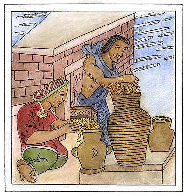 Aztec Pottery Drawing - Aztec Farmers by Granger
