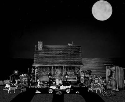 Photograph - B/w Log Cabin And Outhouse Scene With The Classic Old Vintage 1908 Model T Ford by Leslie Crotty