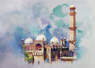 Painting - Badshahi Mosque by Catf