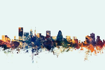 Baltimore Digital Art - Baltimore Maryland Skyline by Michael Tompsett
