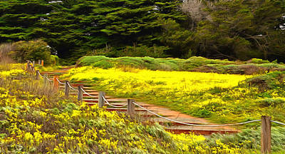 Cambria Painting - Painting Walkway To The Beach by Barbara Snyder