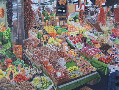 Asparagus Mixed Media - Barcelona Market by Constance Drescher