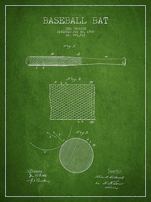 Baseball Drawing - Baseball Bat Patent Drawing From 1904 by Aged Pixel