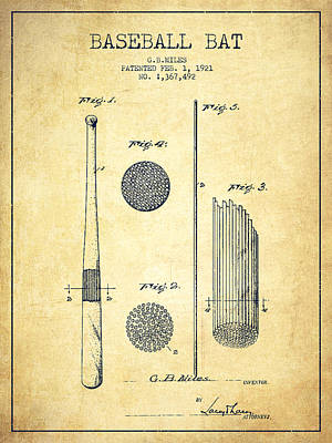 Baseball Royalty-Free and Rights-Managed Images - Baseball Bat Patent Drawing From 1921 by Aged Pixel